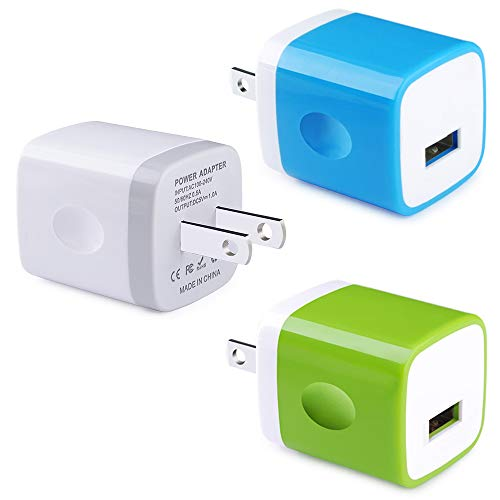 (Single USB Wall Charger, Ehoho 3Pack 5V/1AMP 1-Port USB Charging Block Home Travel Plug Power Adapter Charging Cube for iPhone Xs XR X 8 7 Samsung Galaxy S10 S10E Note9, LG, HTC,Moto, Kindle)