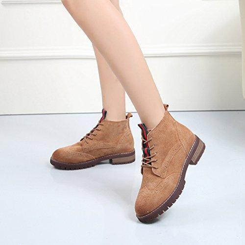 60%OFF Automne Hiver Lacets Chaussures Suédé Bout Rond Talon