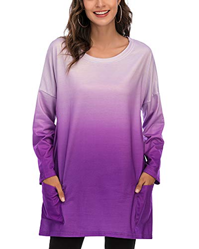 CIZITZZ Women's Long Sleeve Round Neck Casual T Shirts Blouses Sweatshirts Tunic Tops with Pocket,PPU,L