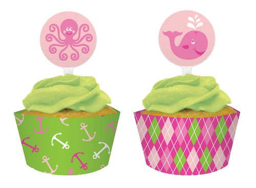 - Creative Converting Ocean Preppy Girl Cupcake Topper Decorations with Matching Baking Cup Wrappers, 12 Count