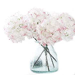 Crt Gucy 2 Pcs Fake Hydrangea Silk Artificial Hydrangea Flowers Wedding Room Home Hotel Party Decoration (White Pink) 63