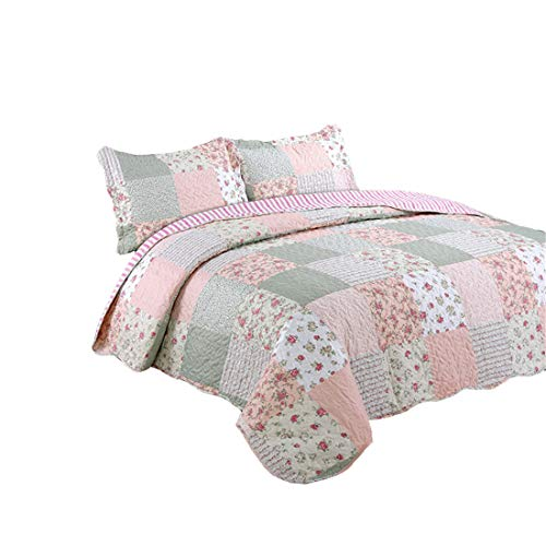 - Jameswish 3pc Floral Patchwork Print Bedspread - Reversible Microfiber Pink/Gray Quilt Set - Full Queen Flower Patchwork Coverlet Wrinkle-Free