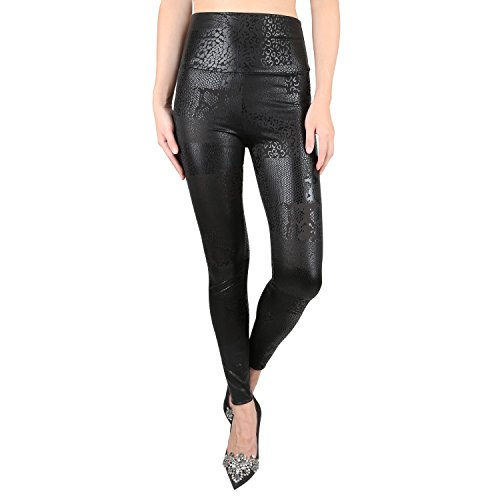 jntworld Women's Faux Leather High Waisted - Snakeskin Faux Pants