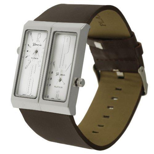 Geneva Platinum 7776 Dual Face Genuine Leather Watch- Brown