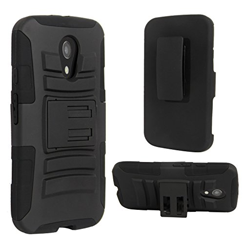Motorola G (2nd Generation) Case, E LV Moto G (2nd Gen. 2014) Holster Case Cover with Belt Swivel Clip 2014 with 1 Stylus - BLACK