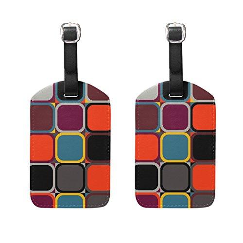 SAVSV PU Leather Geometric Figure Luggage Tags For Travel Luggage Bag Set Of 2