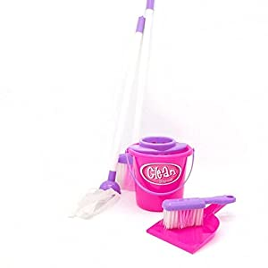 MONOMONO-Kids Play Simulation House Cleaning Tool Kit Broom Mop Dust Pan Brush Bucket