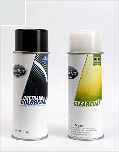 ColorRite Aerosol Automotive Touch-up Paint for Mini Cooper All - White Silver Metallic A62 - Color+Clearcoat Package