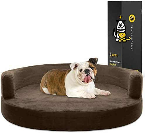 Kopeks Deluxe Orthopedic Memory Foam Round Sofa Lounge Dog Bed Large Brown Amazon Ca Pet Supplies