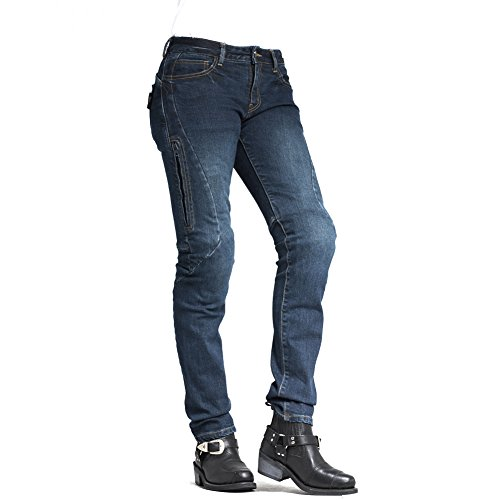 (MAXLER Jean Biker Jeans for Women Motorcycle Motorbike Riding Jeans 605 Blue 30 )