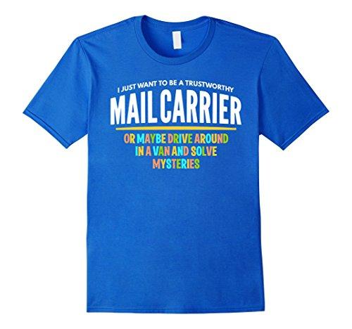 [Men's Mail Carrier Detective Shirt Van Mysteries Funny Gift Medium Royal Blue] (Van Royal Mail)