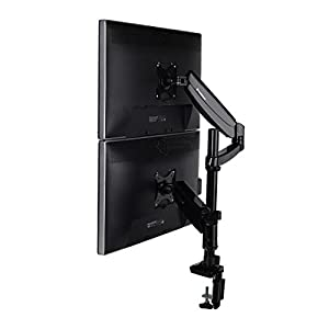 "FLEXIMOUNTS Vertical Dual Monitor Mount LCD arm,Full Motion Stacking Desk mounts for 10""-27"" Computer Monitor, /w Clamp or Grommet Desktop Support"