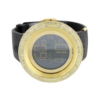 Grammy Edition I Gucci Watch YA114215 Diamond Bezel Mens 13 Ct Digital Gold Tone