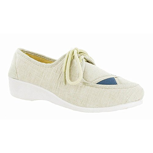 8 Lined 3 Mirak Shoes 5 7 beige Beige Size Blue 4 6 Textile Womens Slip On axqwtOS