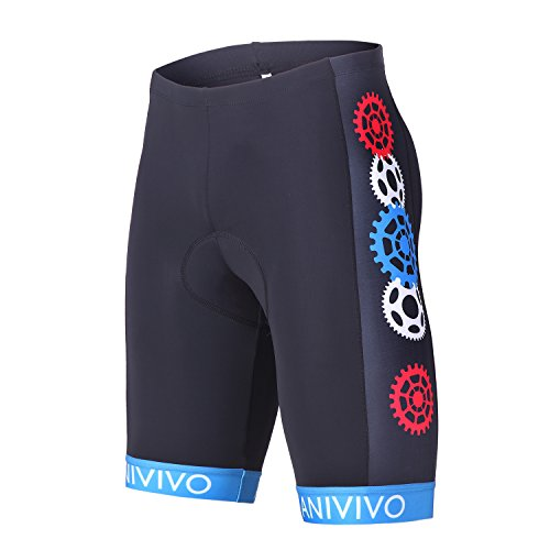 Cheap ANIVIVO Mens Cycling Shorts 3D Gel Padding with Italian Imported Non-Slip Belt, Bike Shorts(Blue Wheel,S)