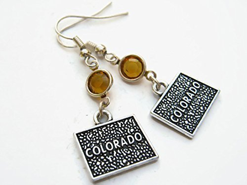 Colorado Birthstone Earrings, Personalized US State Map Earrings, Geography Jewelry (Jewelry Map Colorado)