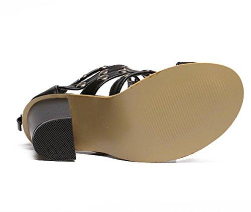 Sandali delle donne YCMDM tacchi alti cinturino alla caviglia Pompe combinazione di pelle Scarpe romano rivetto fibbia Court Shoes , black , 35