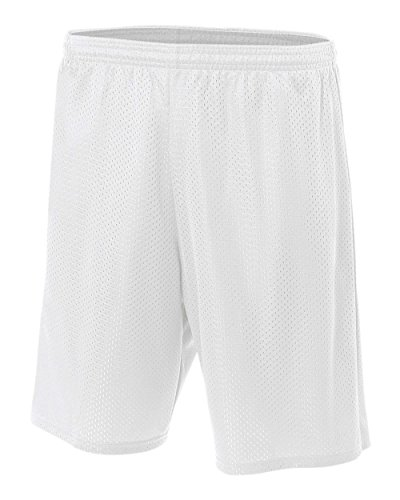 "A4 9"" Lined Tricot Mesh Shorts, White, Large"