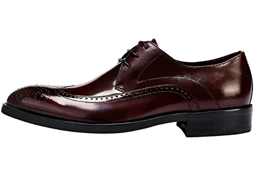 Lace Shoes Dress Classic Santimon Comfort Up Perforated Brown Leather Casual Brogue by Shoes Mens twTXw