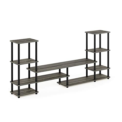 FURINNO 14146GYW BK Grand Entertainment Center, French Oak Grey Black