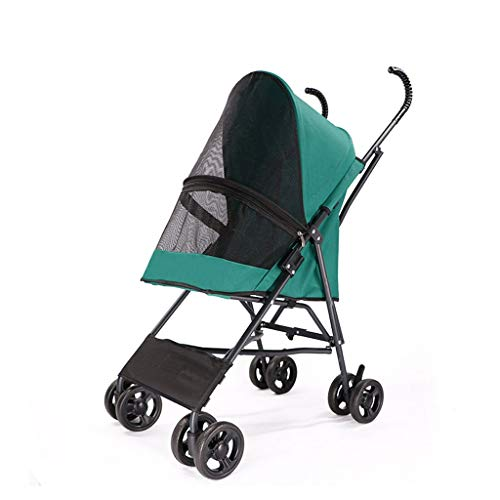 MSNDD Outdoor Pet Trolley Small, Light Folding Teddy Puppy Dog Cat Dog Walking Dog Four-Wheeled Double-Decker Trolley (Color : Green)