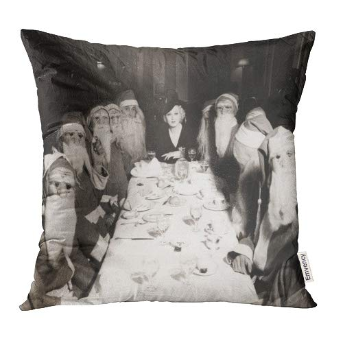 Emvency Decorative Throw Pillow Covers Cases Christmas Woman Lunching Twelve Santa Clauses Vintage Food Retro 1910S 1930S 16x16 Inch Case Cover Cushion Two Sided -