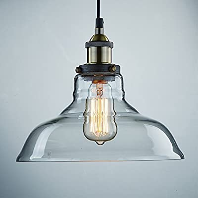 CLAXY Ecopower Industrial Edison Vintage Style Pendant Glass Hanging Light