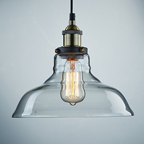CLAXY Ecopower Industrial Edison Vintage Style 1-Light Pendant Glass Hanging Light (Pendant Light Fixtures For Kitchen)