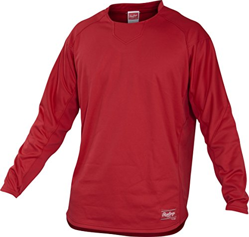 Rawlings Adult Dugout Fleece Pullover, Large, Scarlet