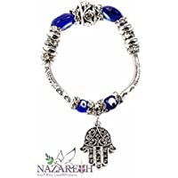 Hamsa Hand Of Fatima Charming Stretchable Bracelet Blue Crystals and Glass Evil Eye Protection Beads