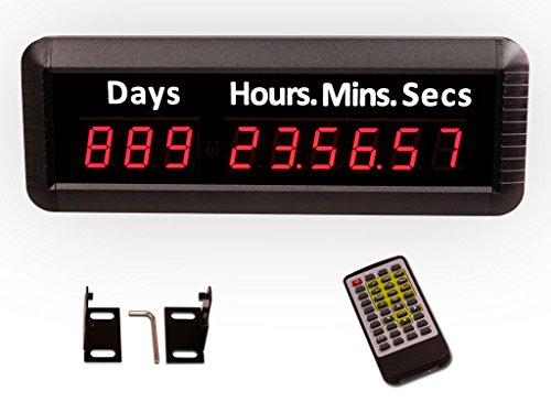 EU 9Digits 1'' LED Days Countdown CountUP and Clock Red Color 999 Days with Hours Minutes Seconds IR Remote Control Aluminum Casese by EU DISPLAY