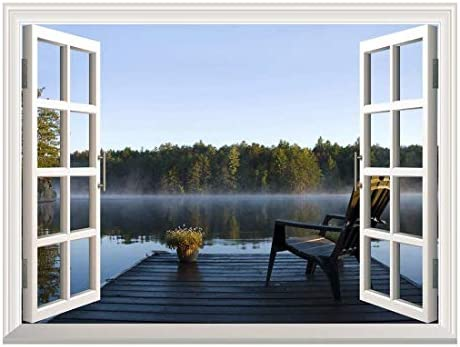 Removable Wall Sticker Wall Mural Peaceful Lake View with a Chair on a Wooden Pier Creative Window View Wall Decor