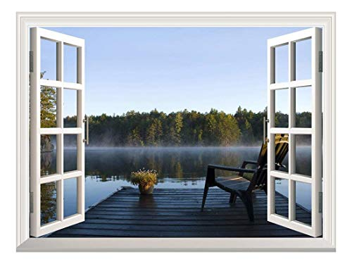 Removable Wall Sticker/Wall Mural - Peaceful Lake View with a Chair on a Wooden Pier | Creative Window View Wall Decor - 24