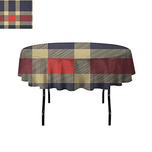 Douglas Hill Checkered Printed Tablecloth Vintage Plaid Tartan Pattern Design Retro Display Checks Cross Lines Desktop Protection pad D55 Inch Dark Blue Coral Cream ()
