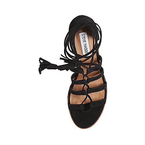 Open Womens Black Dress Ghillie Toe Madden Suede Steve Sandals Rosel qt8BwpnZ