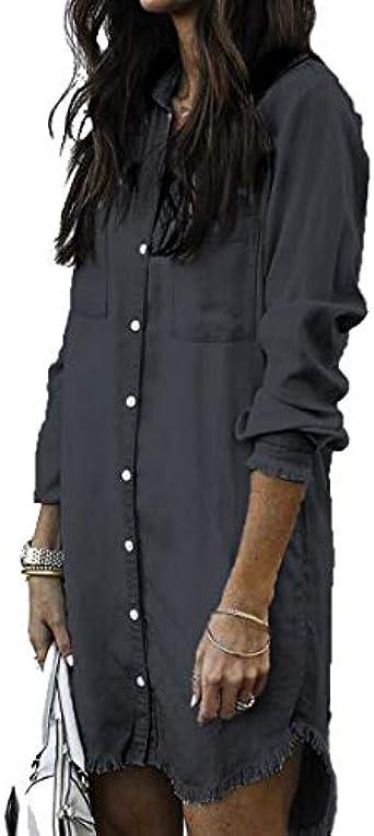 De Mujer Camisa de Mezclilla Vestido De Manga Larga Señora De ...