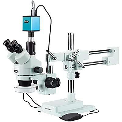 AmScope 3.5X-90X Trinocular Stereo Microscope with 144-LED Ring Light and Auto Focus Camera