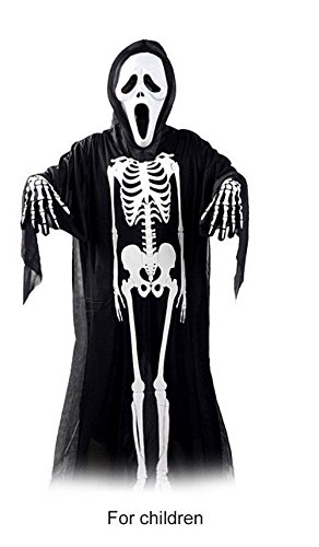 3pc of set Black and White Child Ghost Skull Skeleton Clothes Halloween Cosplay Costume FU