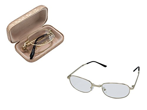 Unisex Folding Reading Glasses .Classic design, Gold fram, Case and cleaning cloth Included. By D-M Eyes. - Glasses Eye Frams