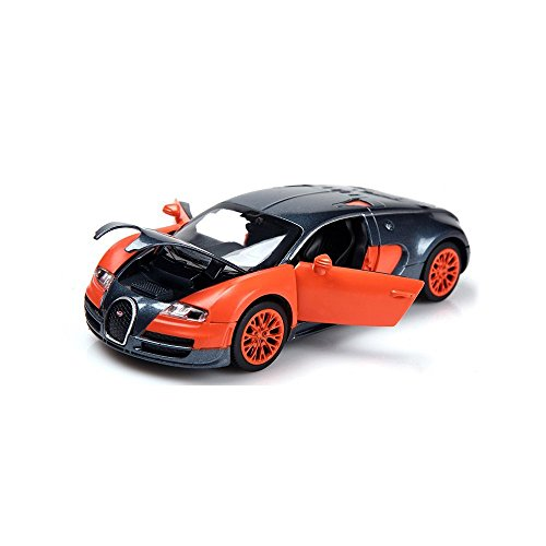 Berry President(TM) 1:32 Bugatti Veyron Diecast Scale Model Alloy Supercar Model Vehicle Simulation Toy for Children Electric Pull Back Cars Sound & Light - Birthday Christmas Gift (Orange) (Bugatti Veyron Model compare prices)