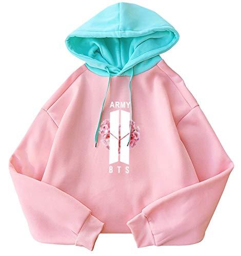 (Fashionoly Harajuku Women Patchwork Army Sakura Printed Hooded Korean BTS Boys Kpop Pink)