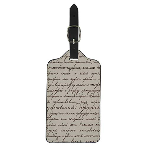 (Semtomn Luggage Tag Handwrite Based on Manuscript Pushkin Script Text Letter Old Suitcase Baggage Label Travel Tag Labels)