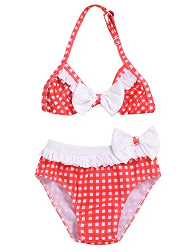 Baby Girl Swimsuit Red White Plaid Bikinis Set Beachwear for sale  Delivered anywhere in USA