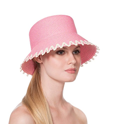 Eric Javits Luxury Fashion Designer Women's Headwear Hat - Eloise - Pink Mix by Eric Javits