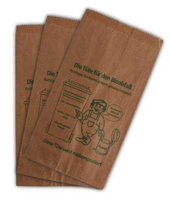 400 Bioabfalltüten Papier braun 9, 5 l Biomülltüten Kompostbeutel Mülltüten Müllbeutel Bio 20 + 16 x 36 cm der-verpackungs-profi GmbH 303636