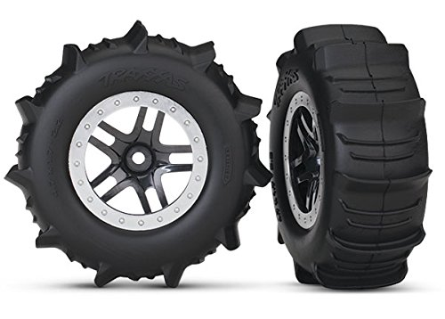 Traxxas 5891 SCT Wheels SS Black Satin Paddle Tires ()