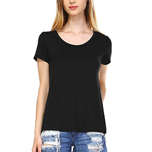 Fashionazzle Women's Basic Scoop Neck Short Sleeve Loose Fit T-shirt (Small, Black) Solid Black Scoop