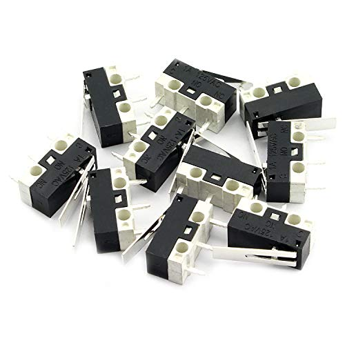 RuiLing 10pcs Micro Limit Switch 3Pin 1A 125V AC Lever Arm Snap Action Normally Open/Close Micro Switch WK1-04B