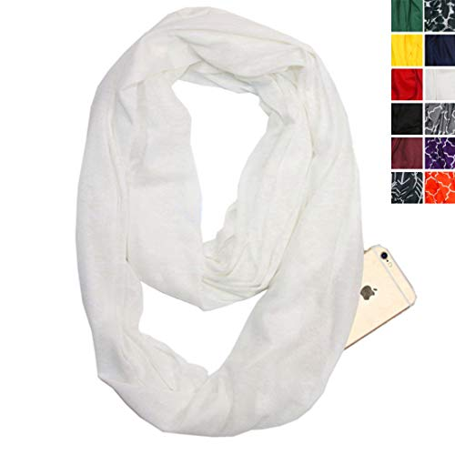 Infinity Scarf With Zipper Pocket For Women Girls - Convertible Soft Stretchy Travel Scarves (White)