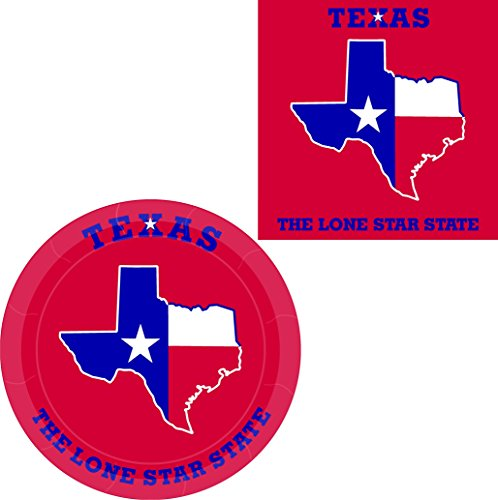 Texas State Flag Luncheon Napkins and Paper Plates - 64 Pieces (Serves - Texas Party Supplies